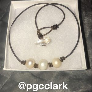 Jewelry - Triple Freshwater Pearl and Leather Necklace